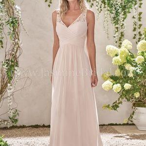 Tanzanite Floor length, chiffon & lace dress